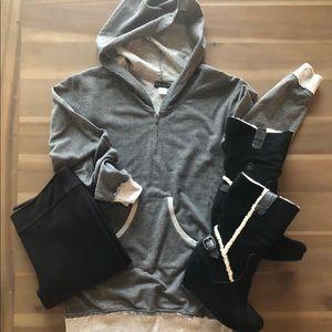 Gray and white hooded sweatshirt
